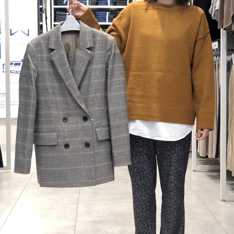 2WAYシャツテールコンビネーションセーター/ダブルブレストテーラードジャケット/リブスリムストレートパンツ