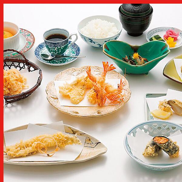 季節膳(前菜、刺身、天麩羅、口替り、御食事、デザート)