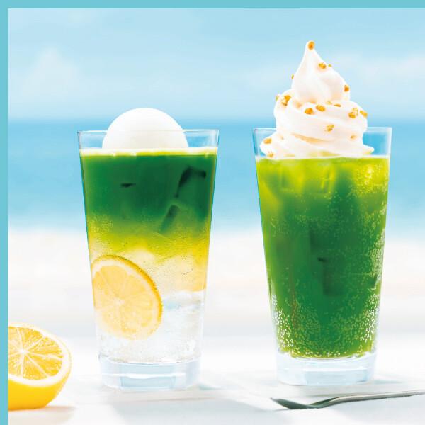 抹茶レモンフロートソーダ M/玄米抹茶ソフトクリームソーダ