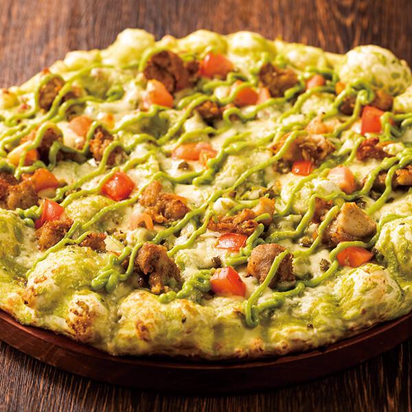 ハバネロチキンのピザ ワカモレソース