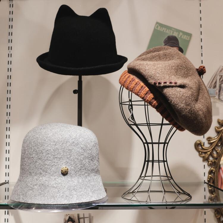 Dodge ウール100%ネコミミハット/バラ色の帽子 ニットベレー帽/Dodge ウール100%ハット