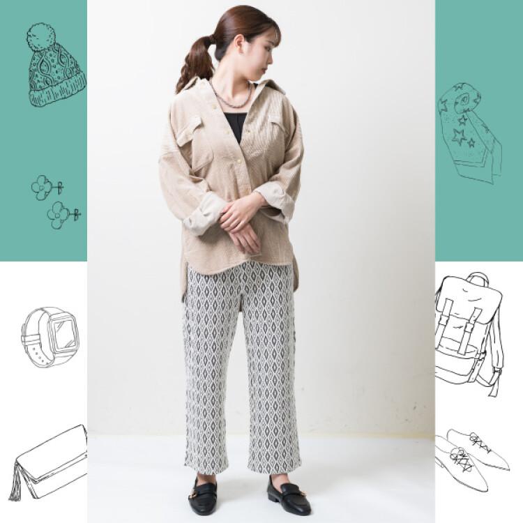 太コールCPOシャツジャケット / スクエアネックタンクトップ / 幾何学ジャガードイージーパンツ / ゴールドバーローファー