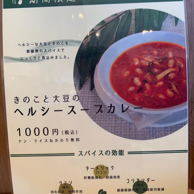 きのこと大豆のヘルシースープカレー 1,000円 (税込)